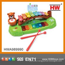 Piano plástico de niño encantador con música y luz Notas de música de xilófono