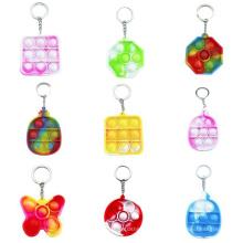 China Manufacturer Silicone Mini Popit Key Chain Autism Sensory Fidget Toy Small Pop Keychain