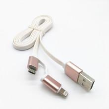 2 em 1 cabo de dados de macarrão USB para micro e iPhone