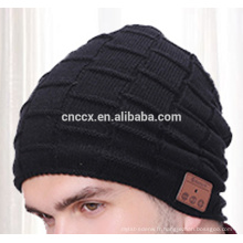 PK18ST014 nouveau produit chapeaux tricot beanie chapeau avec des écouteurs sans fil pour les hommes