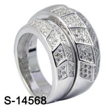 Ensembles d'anneaux CZ à bijoux en argent sterling au rhodium 925 (S-14568)