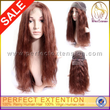 Jet Long Afro Wavy Human Hair 32 Inch Hair Full Lace Black Wig