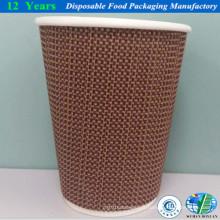 Tasse en papier mousse ondulée avec couvercle