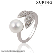 13755 Fashion Pretty CZ Round Pearl Leaf Silver-Plated Jewelry Finger Ring for Women