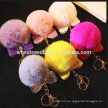 Gute Qualität schöne süße Bogen Pom Fell Ball keychain