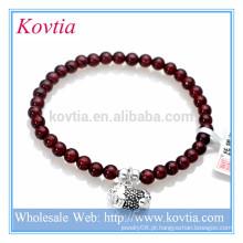 Atacado de moda jóias granet gemstone contas de prata esterlina pingente pulseira