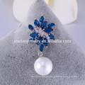 Broche al por mayor de la broche de cristal de zafiro Broche de la perla para las invitaciones de la boda