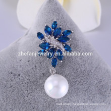 Wholesale sapphire glass brooch small brooches Pearl Brooch for Wedding Invitations