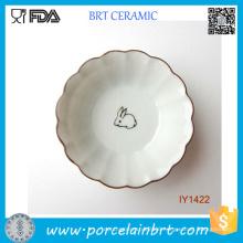 Fairy-Tale Lovely Rabbit Wavy Edge of The Ceramic Plate