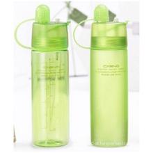 Garrafas de plástico portáteis com tampa, Cooling Spray Water Cup, Garrafas de esportes ao ar livre criativas