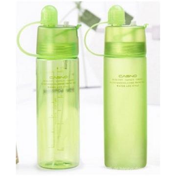 Tragbare Plastikflaschen mit Deckel, kühlende Spray-Wasser-Schale, kreative Sport-Flaschen im Freien