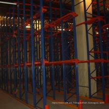unidad de estante de acero de almacén en sistema de estantería de paleta