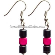 Magnetico Hematita Madeira Beads Brincos