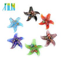 Millefiori e ouro areia Starfish Lampwork Pingentes De Vidro De Folha De Vidro De Pingentes Artesanais para colar 12 pçs / caixa, MC0008