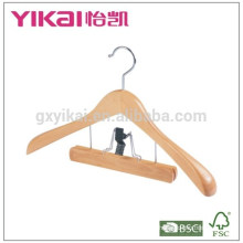 Fancy coat wooden hanger with wide shoulder and trousers clamp