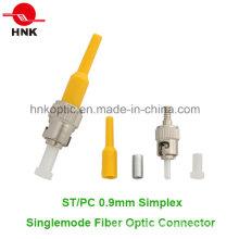 St PC 0.9mm Simplex Singlemode Fiber Optic Connector