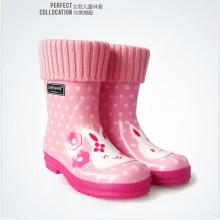 Crianças e adultos 100% poliéster linda malha Welly meias para Rainboot