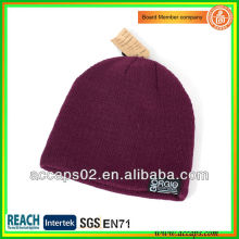 Burgundy acrylic knit beanie with your logo wholesale (china) BN-2031