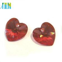 colares de pingente de coração de cristal vermelho