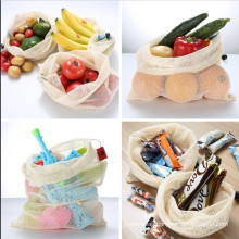 Dapoly eco friendly reusable cotton grocery mesh drawstring fruits and vegetable shopping bag