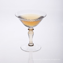 Mouth Blown Clear Stem Martini Glass