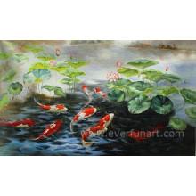 Pintura abstracta moderna pintada a mano de los pescados