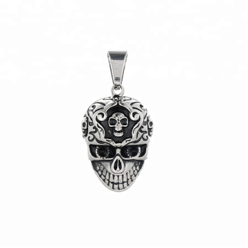 pendant-188 xuping High quality Stainless Steel jewelry black gun color skull head pendant