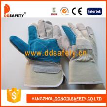 Doble palma reforzada azul cuero palma blanca algodón trasera caucho manguito medio revestimiento ab grado guante de trabajo de seguridad (dlc328)