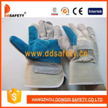 Double Palm Reinforced Blue Leather Working Safety Glove Dlc328