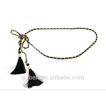 Fashion lady chain waist belt with microfiber strap for garments
