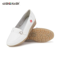 breathable white leather slip-on nurse shoes with wedge heels