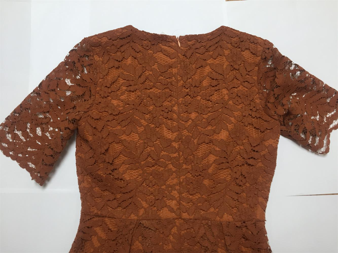 Caramel Color Woman Lace Dress