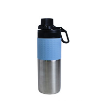 Silicone sleeve cover stainless steel coffee tumbler with straw