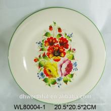Impresión de la placa de cerámica w / flower decal