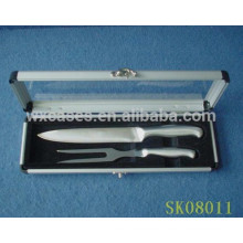 aluminum case with a clear acrylic show top for BBQ tools
