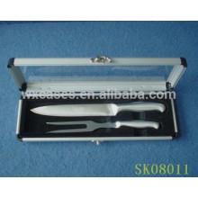 caixa de alumínio com um top show de acrílico transparente para ferramentas para churrasco