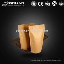 Fabrik Preis Kraftpapier Stand up Beutel ohne Druck