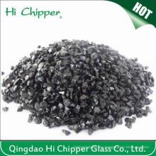 Lanscaping arena de cristal triturado negro vidrio chips vidrio decorativo