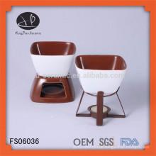Wärmeres Keramikkäse-Fondue-Set mit Kerze und Gabel, FDA / SGS / LFGB-Zertifizierungs-Fondue-Set