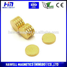 Неодимовый диск магнит золотое покрытие / N35-N52 класс