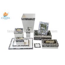 10pcs schwarzer MOP-Shell-Tissue-Box Mülleimer Fotorahmen Aufbewahrungsbox Tray Zahnbürstenhalter Shell Handwerk
