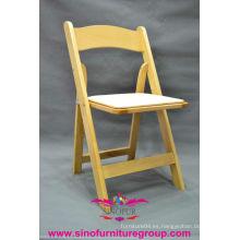 Venta al por mayor silla plegable acolchada de madera, sillas de plegamiento de boda usado
