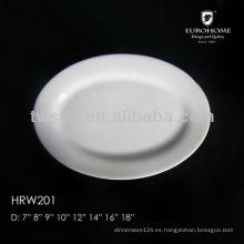 a granel barato hotel blanco porcelana platos, plato de porcelana para hotel