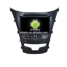 Quad core! DVD de coche con enlace de espejo / DVR / TPMS / OBD2 para la pantalla táctil de 7 pulgadas 4.4 sistema Android Ssangyong Korando 2014