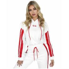 Hot Sale Women Short Hooded Sweater 2pcs Tracksuit