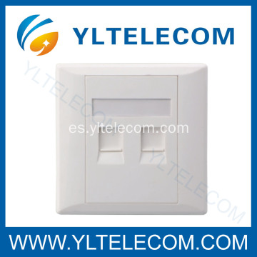Tipo de pared cara placas RJ45 módulo Dual Port 2 Puerto 86 * 86MM 86