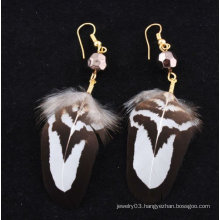 Popular Wholesale Natural Metal Feather Earrings