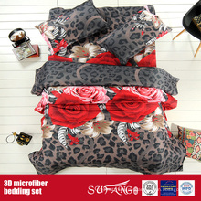 Druck-Polyester-Leinen-Nizza Blumen-Microfiber 3D Bettbezug