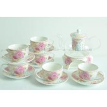 OEM Ceramic Coffee Tea Cup Teapot Set with Saucer