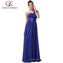 Dropshipping Service Hot Sale Grace Karin Ladies Chiffon One Shoulder Royal Blue Prom Dress Long CL6022-1